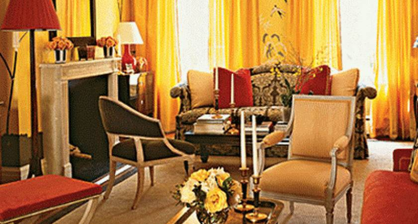 Yellow Red Living Room Color Schemes Home Interior