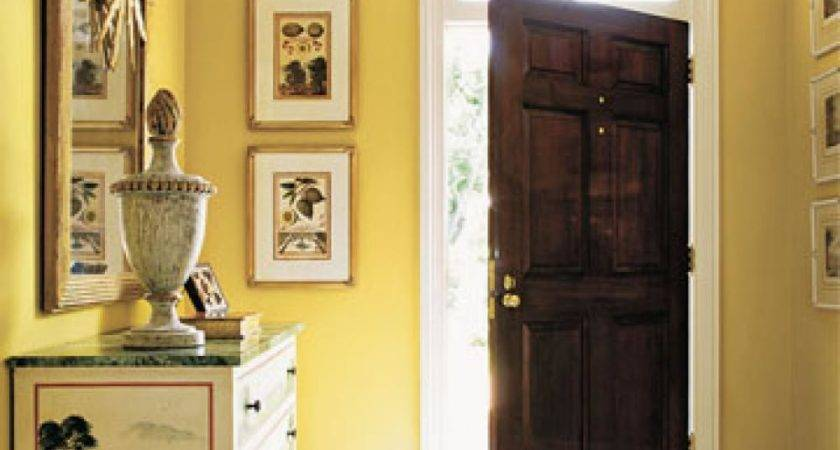 Yellow Wall Paint Color Wooden Door Foyer