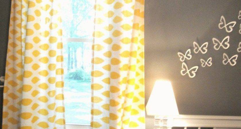 Yellow Walls Blue Curtains Decorating