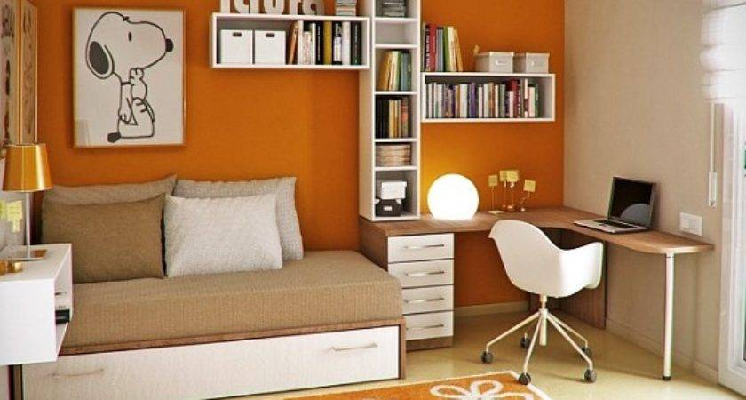 Young Childs Room Orange Walls White Wooden Accents